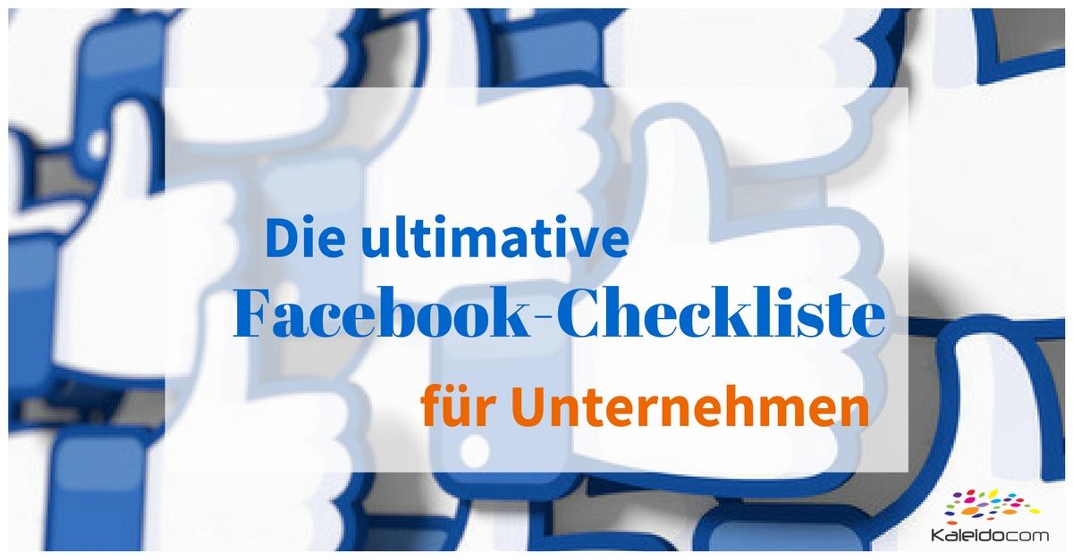 Checkliste Facebook für Unternehmen