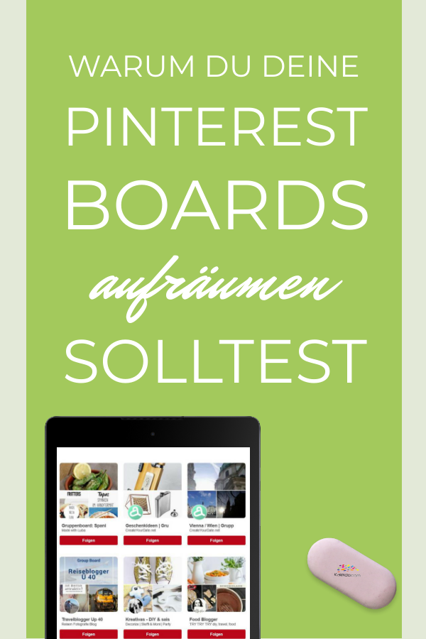 Pin Pinterest Boards Tablet mit Pinnwänden