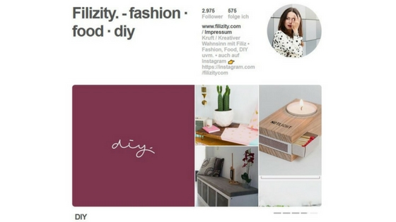 Pinterest Account von Filizity