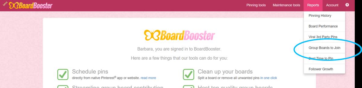 Boardbooster Gruppenboards finden