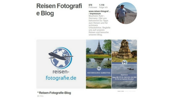 Pinterest Account von Reisen Fotografie Blog