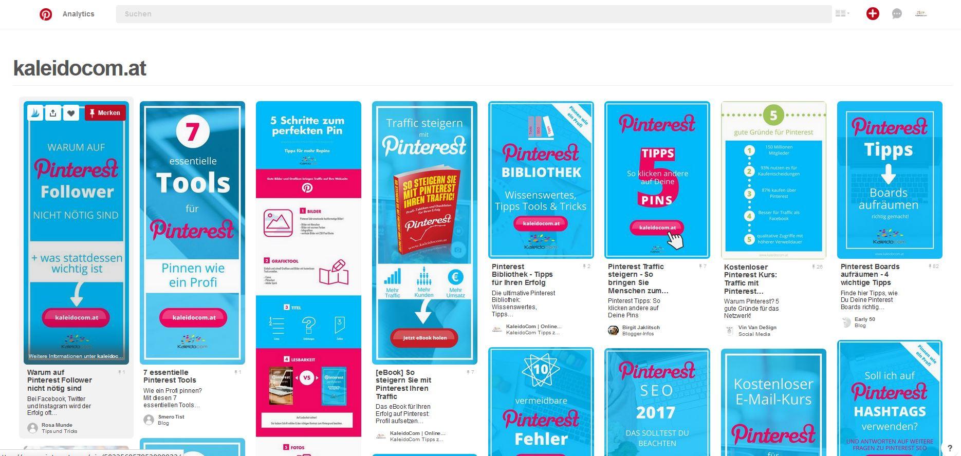 So prüfen Sie, welche Pins von Ihrer Webseite bereits gepinnt wurden.