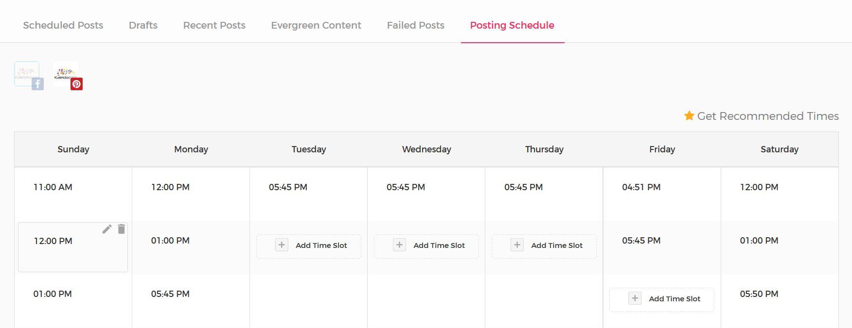 Postingplan mit Viraltag und vorgeschlagenen Zeitenaufbauen