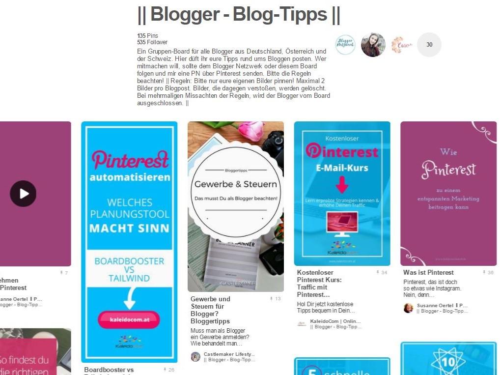 6 wichtige Pinterest-Gruppenboards für Blogging Tipps 3