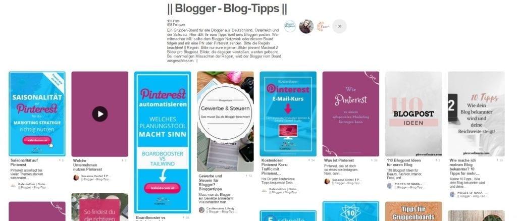 Gruppenboard Blogger Netzwerk Blog Tipps