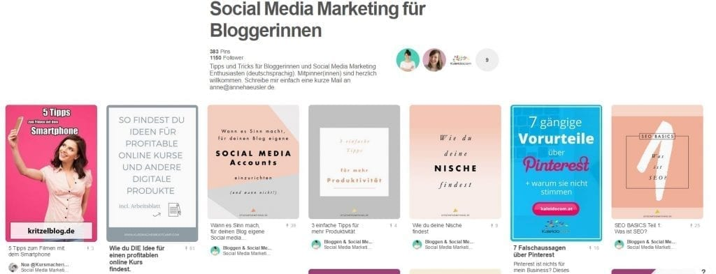 Gruppenboard Social Media Marketing für Bloggerinnen von Anne Häusler