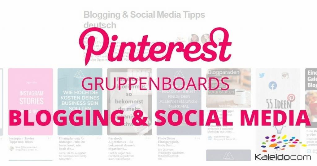 Gruppenboards Blogging & Social Media