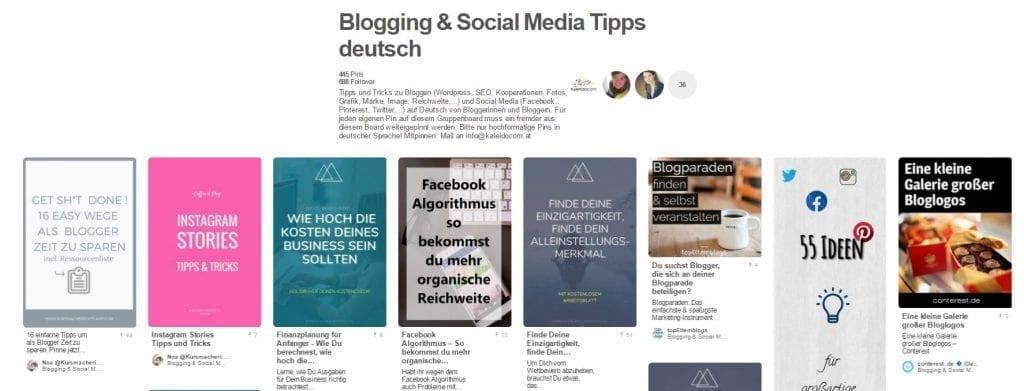 Gruppenboard von Kaleidocom Blogging & Social Media Tipps deutsch