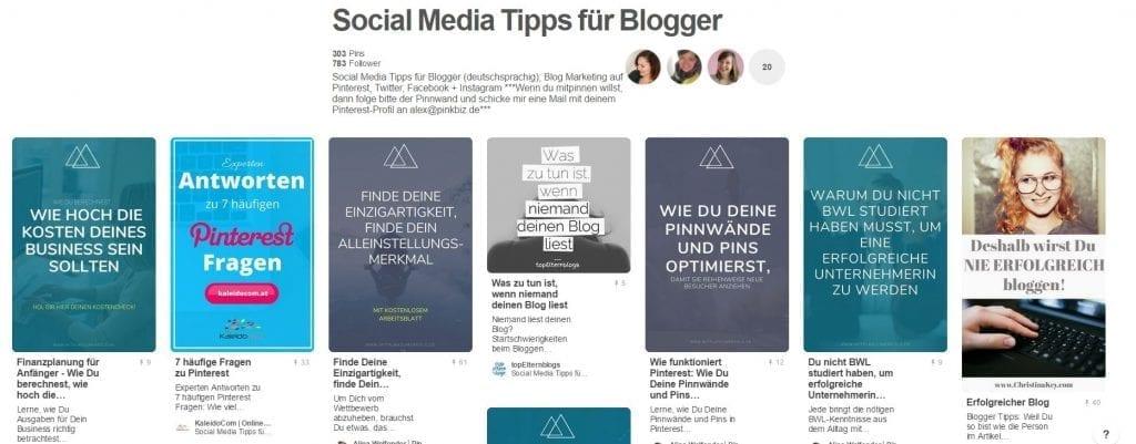 Gruppenboard Social Media Tipps für Blogger von Pinkbiz