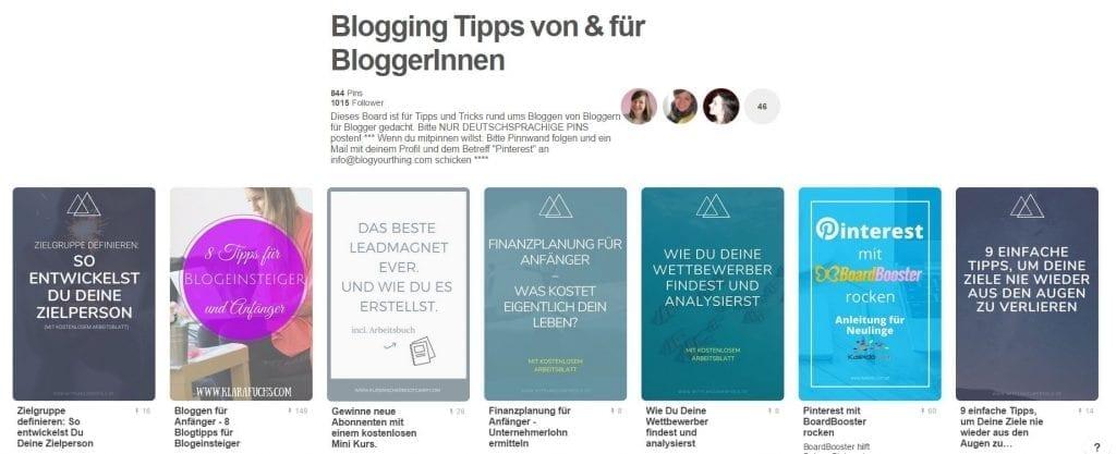 Gruppenboard Blogging Tipps von & für BloggerInnen
