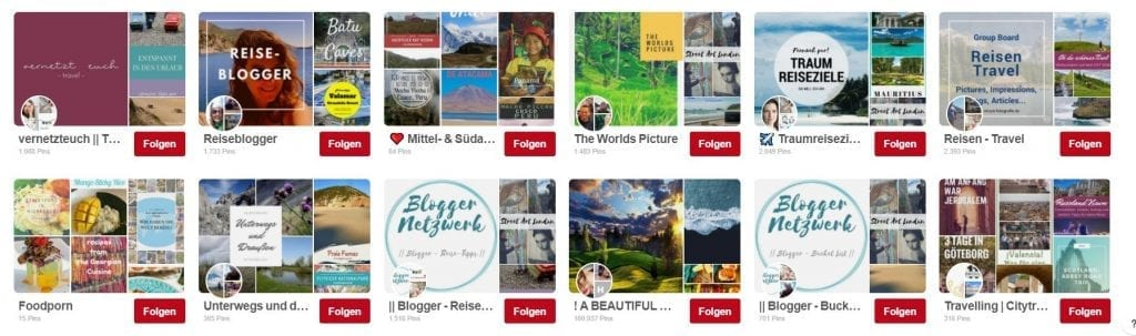 Reiseblogger Gruppenboards