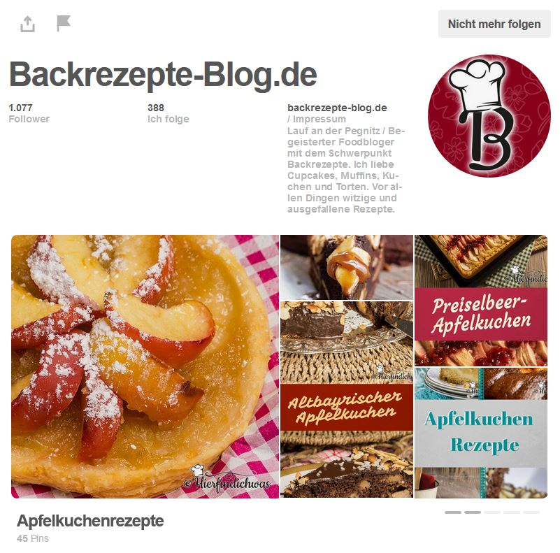 Backrezepte Blog Pinterest Account