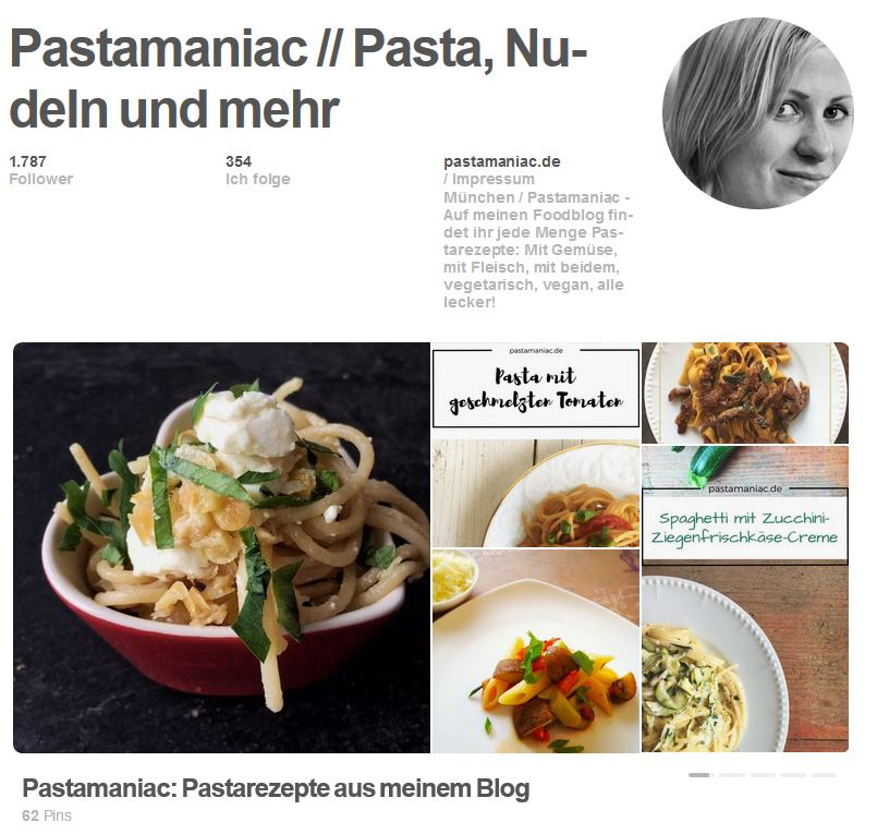 Pastamaniac Pinterest Account